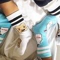 Хлопок Новорожденных Детские Носки для Лета малышей boy/девушки молоко/хлеб шаблон длинные носки малышей анти-скольжения носки Новорожденных calcetines