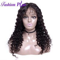Full Lace Human Hair Wigs With Baby Hair Wigs For Women Brazilian Virgin hair Curly Full Lace Wigs Virgin Natural hair Deep wave
