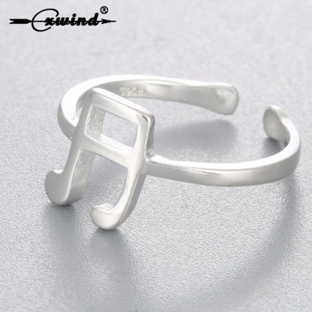 Cxwind Cute Treble Clef Musical Ring Adjustable Knucke Midi Rings for Women Stud Teacher Musical Fans Couple Ring Jewelry image