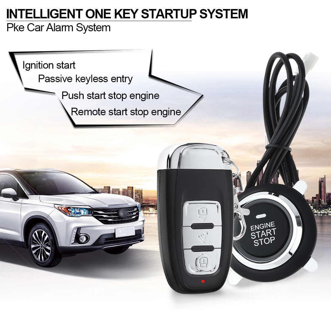 все цены на Remote Initiating System PKE Car Smart Alarm Start Stop Engine System with Auto Central Lock Keyless Entry and Vibration Alarm
