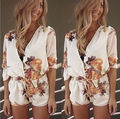 ВЕЛИКОБРИТАНИЯ Женская Sexy Цветочные Мини Playsuit Дамы Комбинезон Летние Шорты Пляжные Шорты