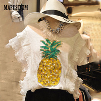 MAPUSITOM New T Shirt Women Short Sleeve T Shirt Bead Sequin Pineapple Tee Shirt Femme Casual