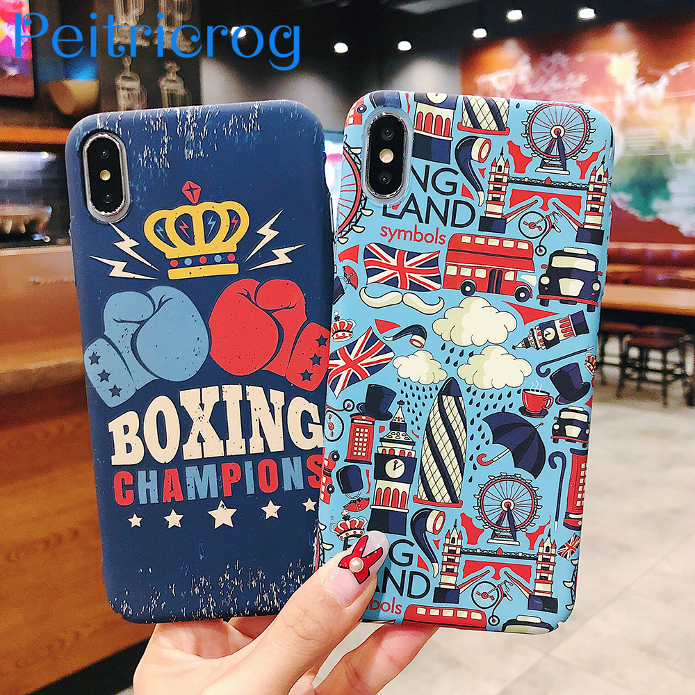 new concept 6ae11 b1074 US $2.66 19% OFF|Retro Trend Skateboard Boxing champion England Style Phone  Case For iPhone 6 6S 7 8 Plus X XR XS Max Matte Ultra Thin Hard Cover-in ...