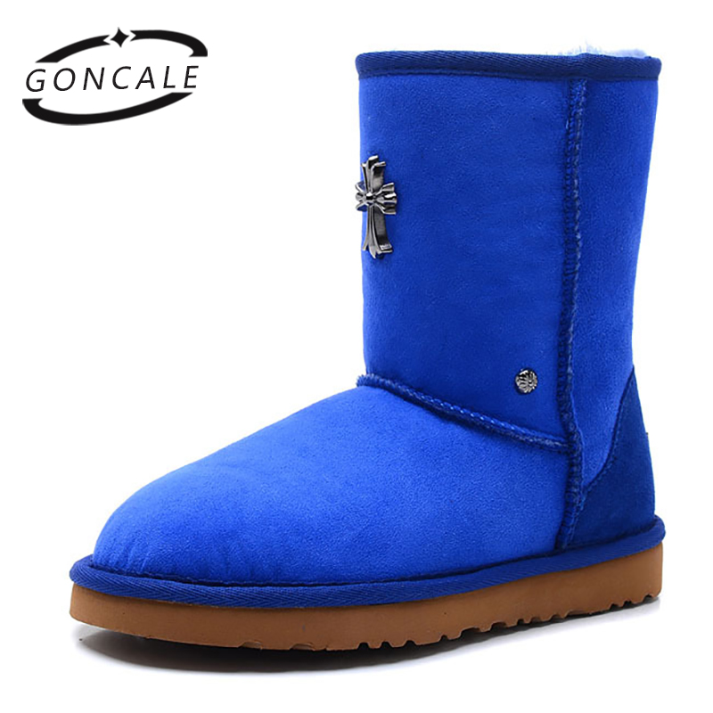 GONCALE Women's Fashion winter sheep skin snow boots women 100% Real Fur Classic Mujer Botas Waterproof shoes for Women nemaone 2017 genuine leather snow boots winter shoes for women new arrival 100% real fur classic mujer botas waterproof