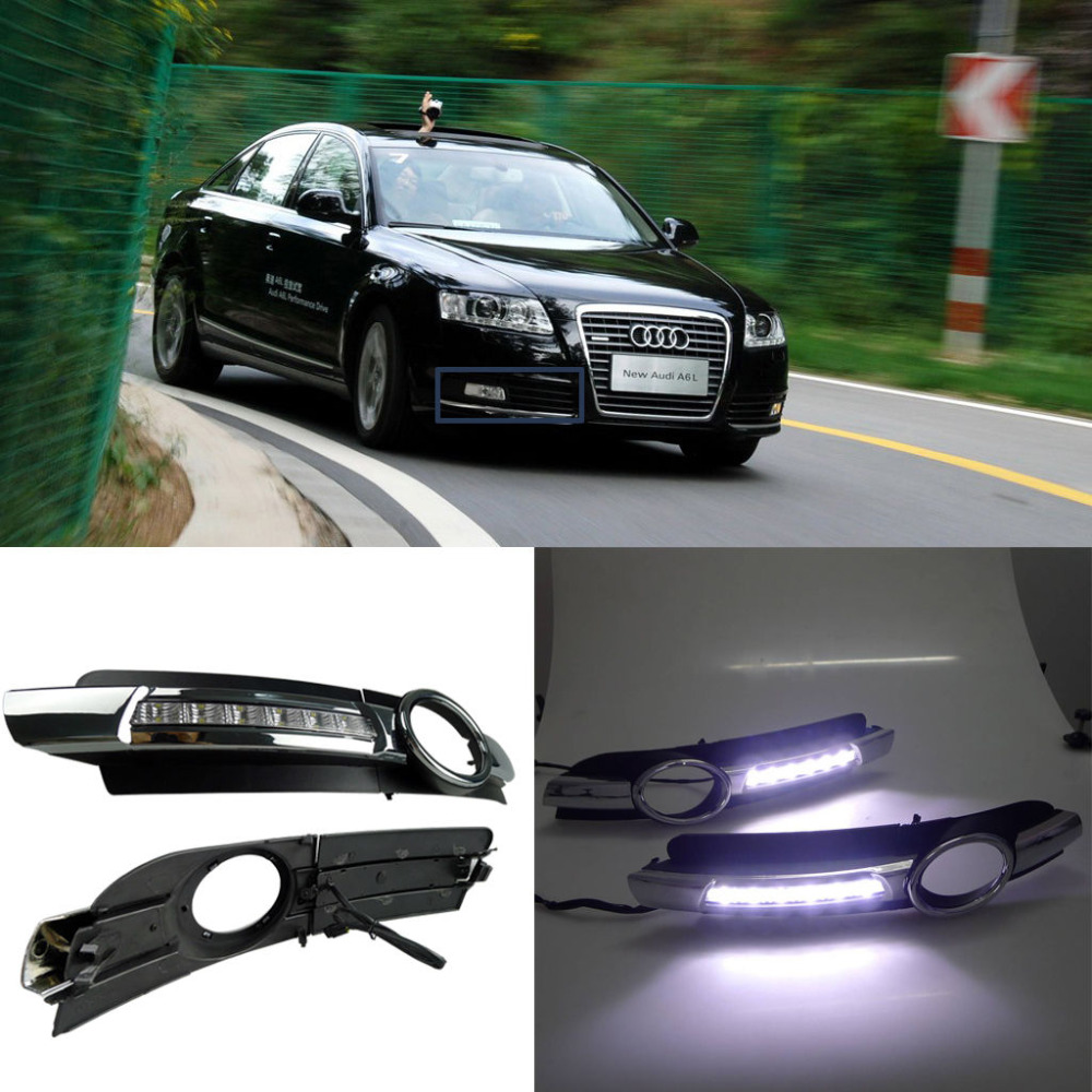 LED Daytime Running Light For Audi A6 A6L C6 Car Fog DRL 2005 2006 2007 2008 2009 sncn led daytime running light for audi a6 2005 2006 2007 2008 car accessories waterproof abs 12v drl fog lamp decoration