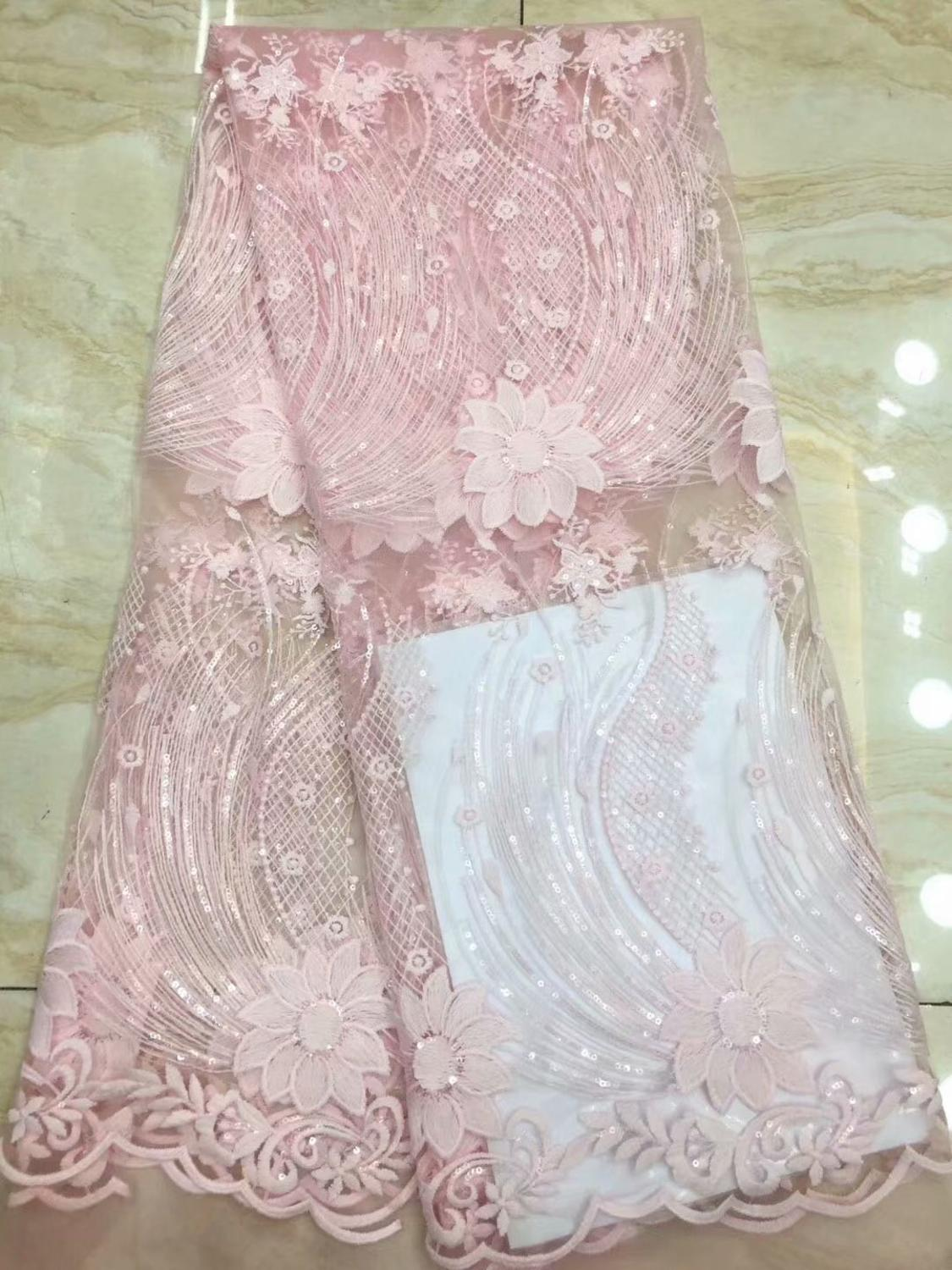 2019 Latest Popular Designs pink gold sequins Fabric 5 Yards African Lace Fabric High Quality indian