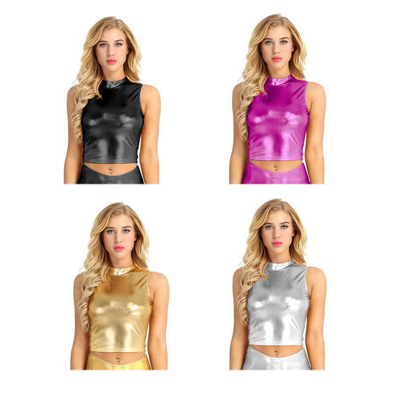 Women Tops Party Faux Leather Halter Neck Fashion Tops Evening Lace Up