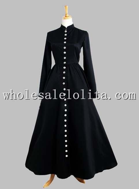 Готический Черный Тайский Шелк Кнопка в Передней Victorian Era Dress