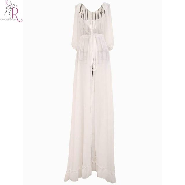 c9f41ef2ba Mujeres gasa Maxi vestido blanco 3 4 manga casual Encaje hasta Slim Playa  Larga Vestidos