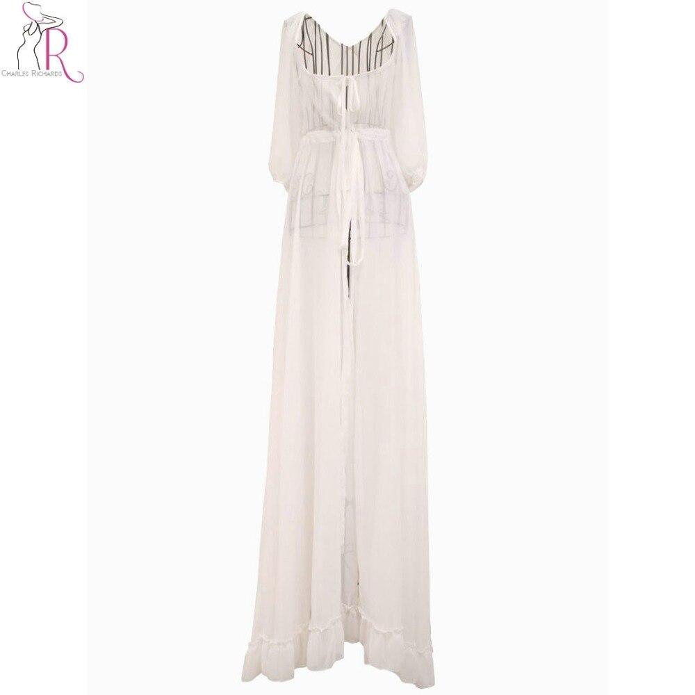 Women Chiffon Maxi Dress White 3/4 Sleeve Casual Lace Up ...