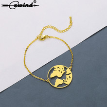 Купить с кэшбэком Cxwind Fashion World Map Bracelets & Bangles for Women Cuff Globe Bracelet Charm Travel Earth Jewellery Gift Bracelet Bijoux