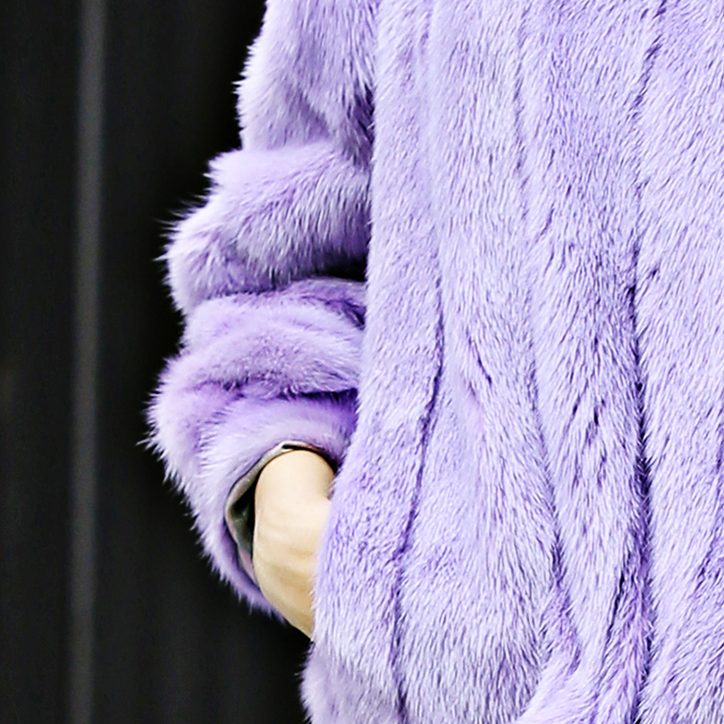 Femme Pleine Solide Véritable Pelt Slim Manches Vison Fourrure cou Pour Molletonnés Manteau O Mode Pulls De Court qxwfSTwX