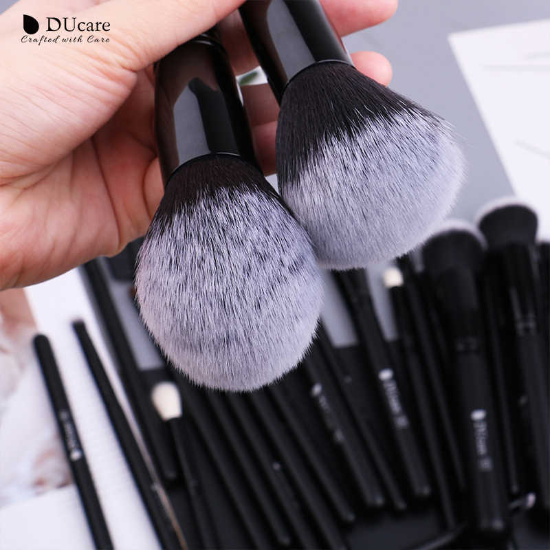 DUcare 27 pièces pinceaux de maquillage fond de teint poudre fard à paupières mettre en évidence Contour sourcil brosse cheveux naturels maquillage brosse ensemble avec étui