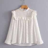 طويلة الأكمام النساء السيدات ربيع الحلو لطيف الأبيض قمم blusas أجوف خارج تكدرت مطوي بلوزة انظر خلال