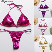 Micro thong bikini set 2019 sexy swimsuit women push up biquini Bright fabric swimwear brazilian bandeau bikinis bathing suits bi es sankai man 100 мл