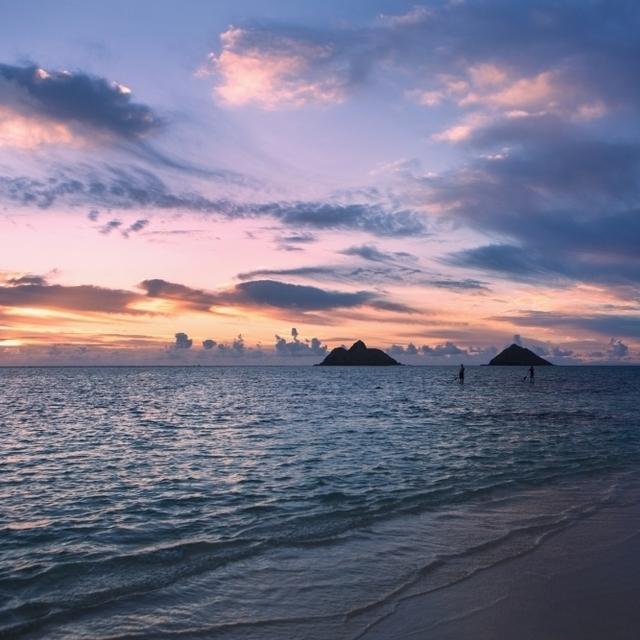 Sunrise at Lanikai beach; Kailua  Island of Hawaii  Hawaii  United States of America Poster Print (38 x 24)