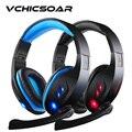VCHICSOAR Мода Super Bass Игровые Наушники Световой USB Stereo Surround Свечение Игра Гарнитура с Светодиодные Микрофон для ПК