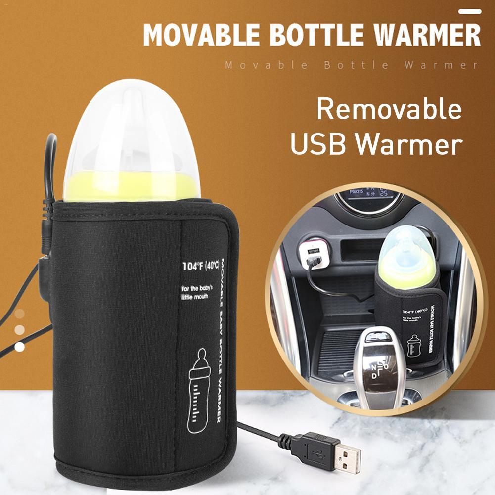 Car USB Baby Bottle Warmer Portable Travel Milk Warmer Infant Feeding Bottle Heated Cover Insulation Thermostat Food Heater
