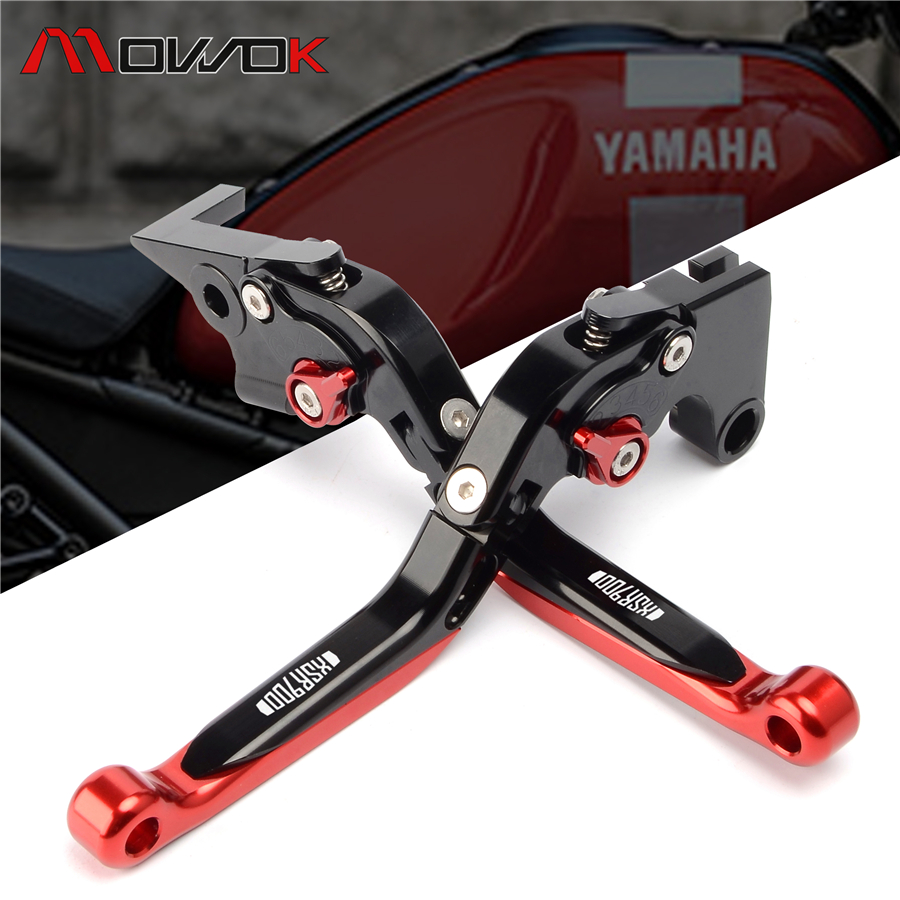 Black Red CNC LOGO Ajustable Foldable extendable brake Clutch Levers For YAMAHA XSR 900 XSR900 2016
