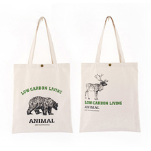 Ladies casual canvas bag green shopping bag cartoon bear print shoulder shopping tote bag calico print tote bag