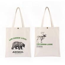 цена на Ladies casual canvas bag green shopping bag cartoon bear print shoulder shopping tote bag