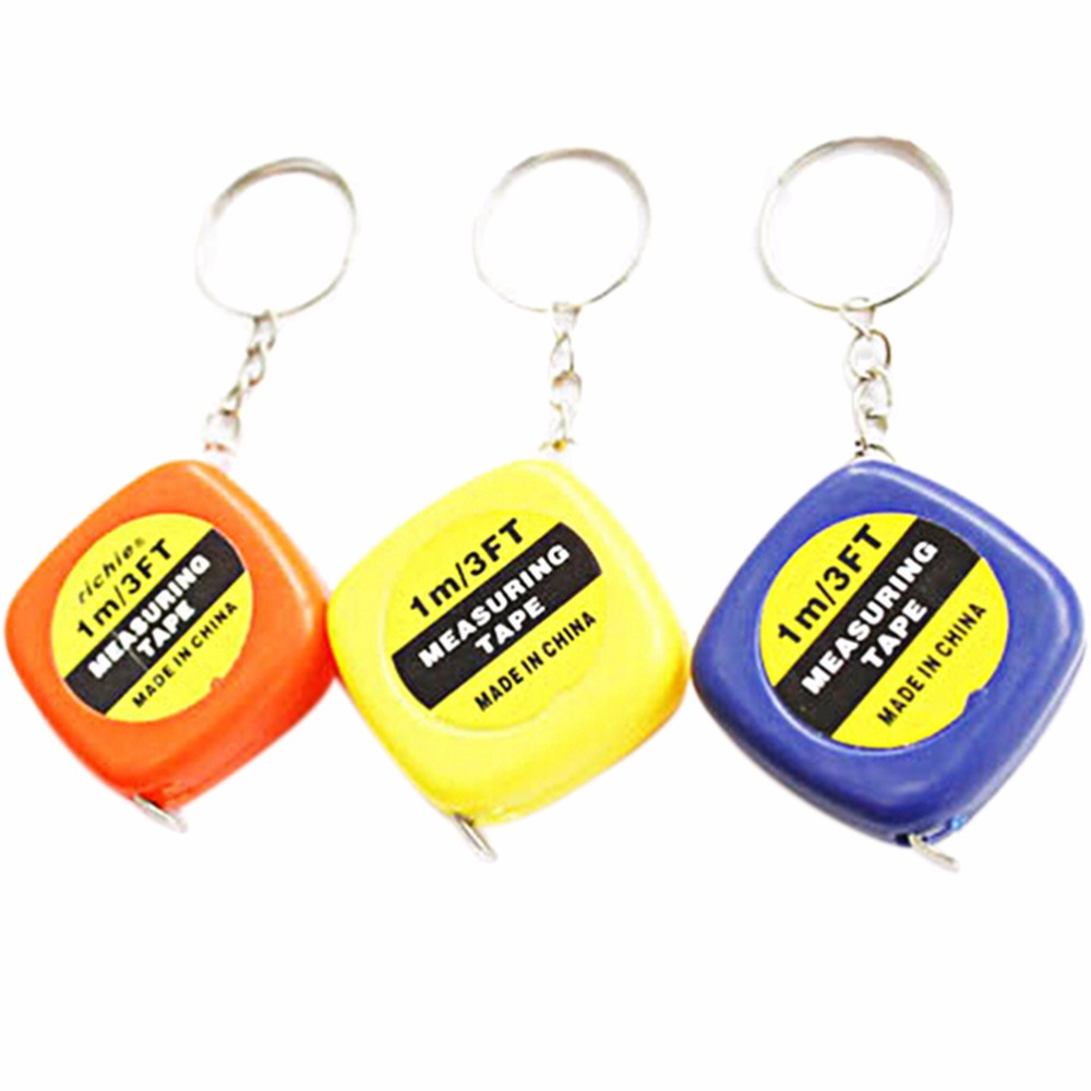 1PCS 1 Meter Color Random Keychain Keyring Tool Popular Mini Measuring Tape Portable Keychain