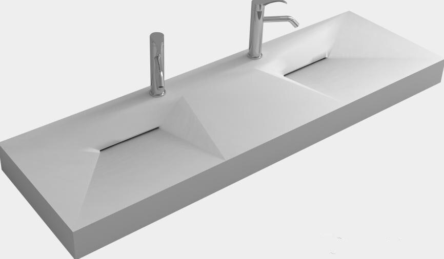 Rechthoekige Witte Wastafel : Wandmontage mm vanity counter top wastafel steen effen