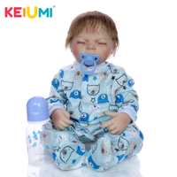Collectible 20'' 50 cm Reborn Babies Doll Soft Vinyl Newborn Closed Eyes Baby Doll Toy For Children Birthday Gift Kids Playmate