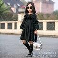 Crianças roupas meninas primavera 2016 novo Coreia Do Sul lado agaric manga hubble-bolha vestido de princesa de cintura alta vestido