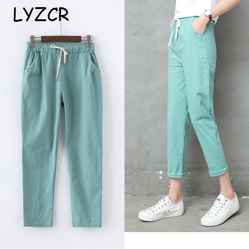 Summer Cotton Linen Pants Women Candy Color Casual Loose Harem Pants For Women Ankle Length Trousers Female Elastic Waist Pant