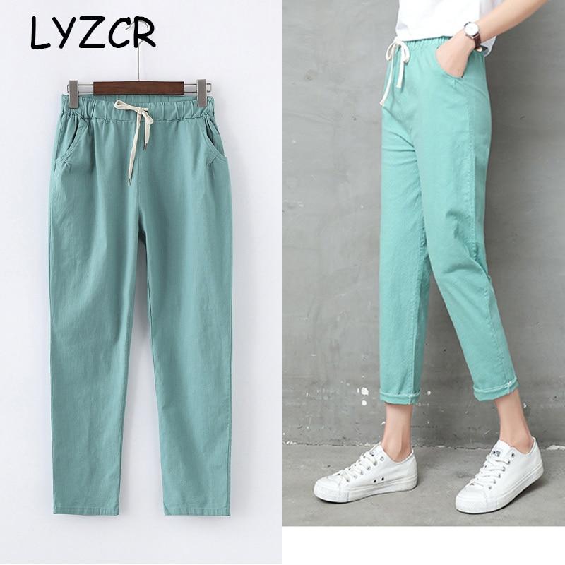 Summer Cotton Linen Pants Women Candy Color Casual Loose Harem Pants For Women Ankle Length Trousers Female Elastic Waist Pant