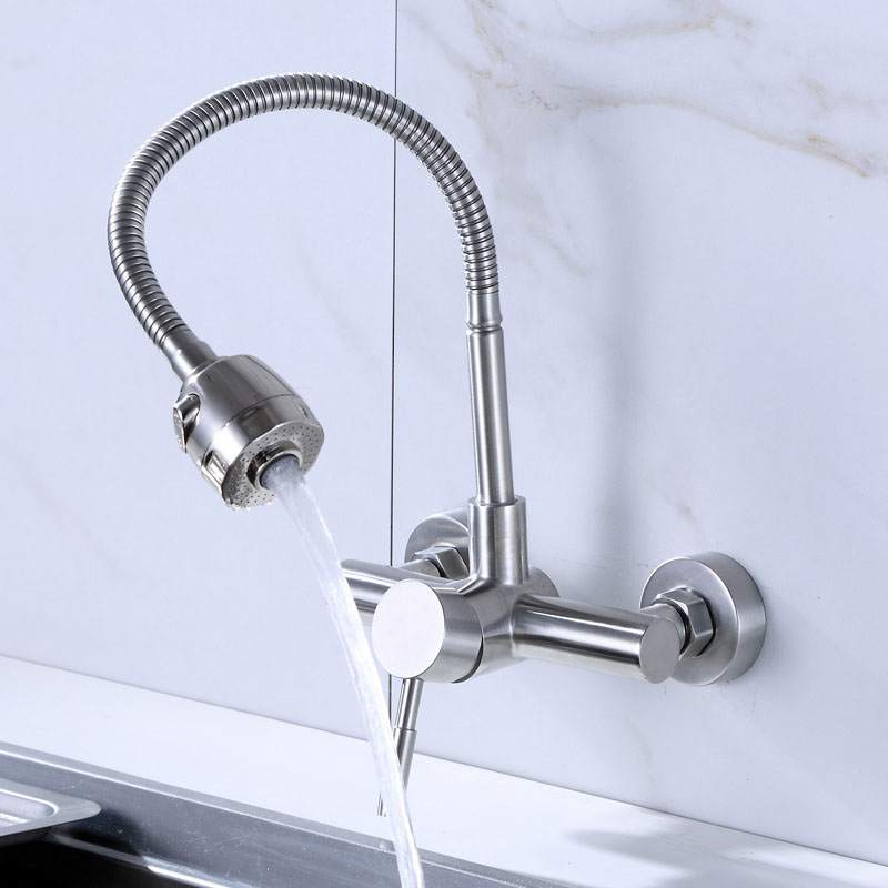 Купить с кэшбэком Free Shipping Stainless Steel material Wall Mounted Kitchen sink mixer faucet With free rotation hose mixer water Tap