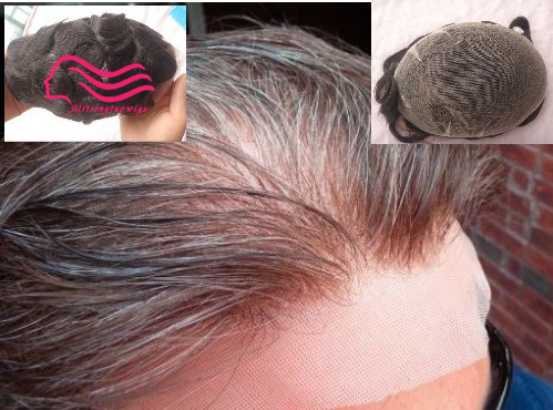 Swiss lace or French lace men Toupee For Men Bleached and tiny Knots Hair replacement , hair system , men wig free shipping