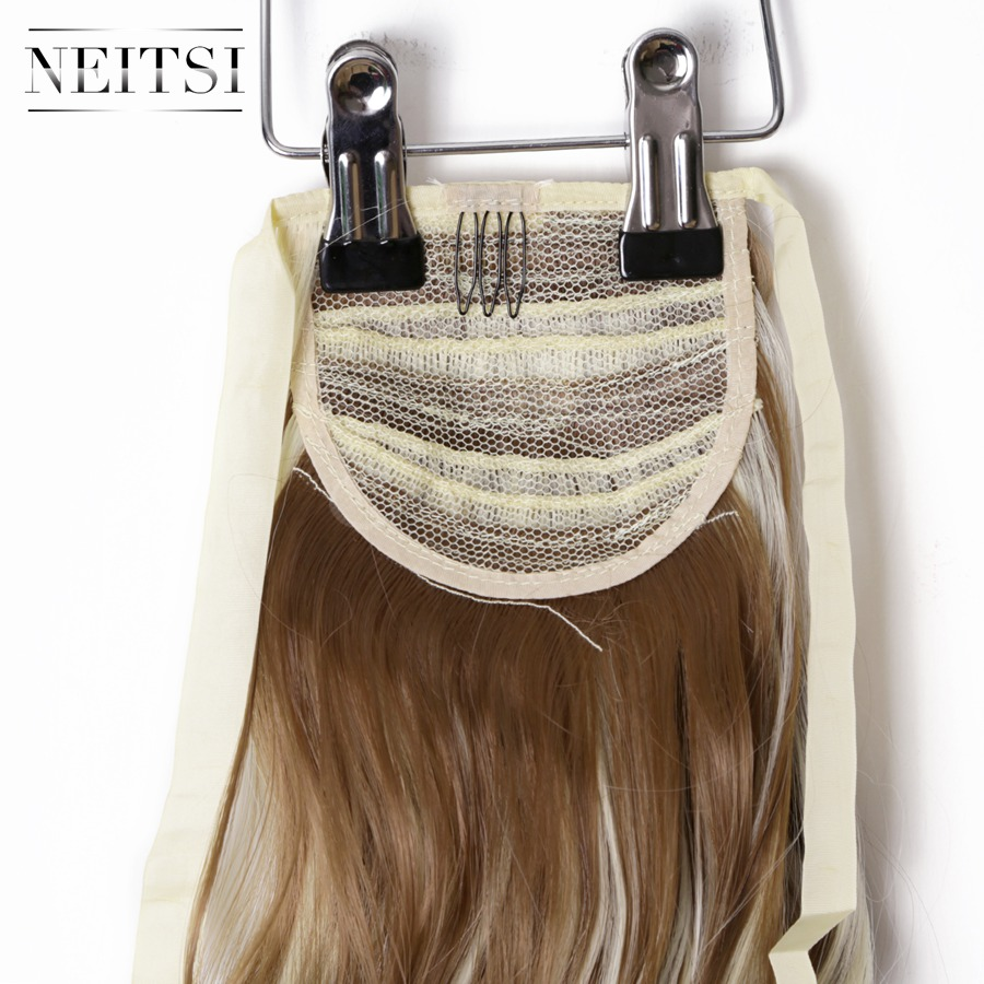 Купить с кэшбэком Neitsi Curly Long Clip In Hair Tail False Hair Ponytail Hairpiece With Hairpins Synthetic Hair  F12-613#
