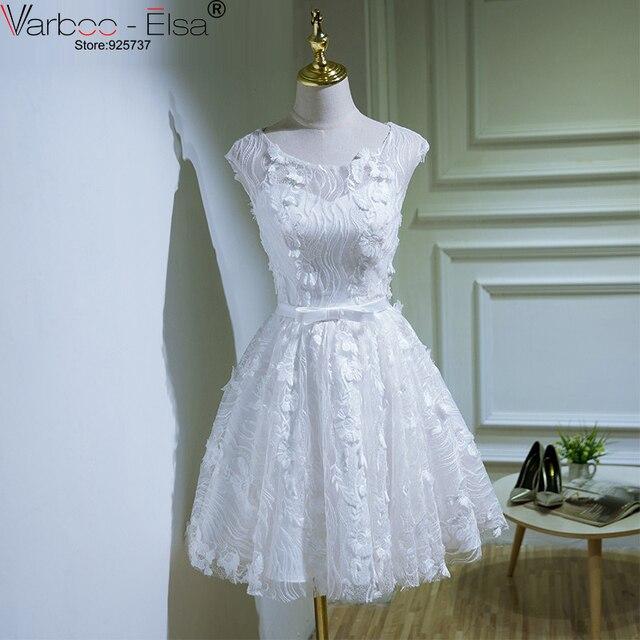 cb6a44f78e Vestido De Gala 2018 kolano długość sukienki koktajlowe koronkowa aplikacja  kwiaty białe suknie balowe krótki suknie