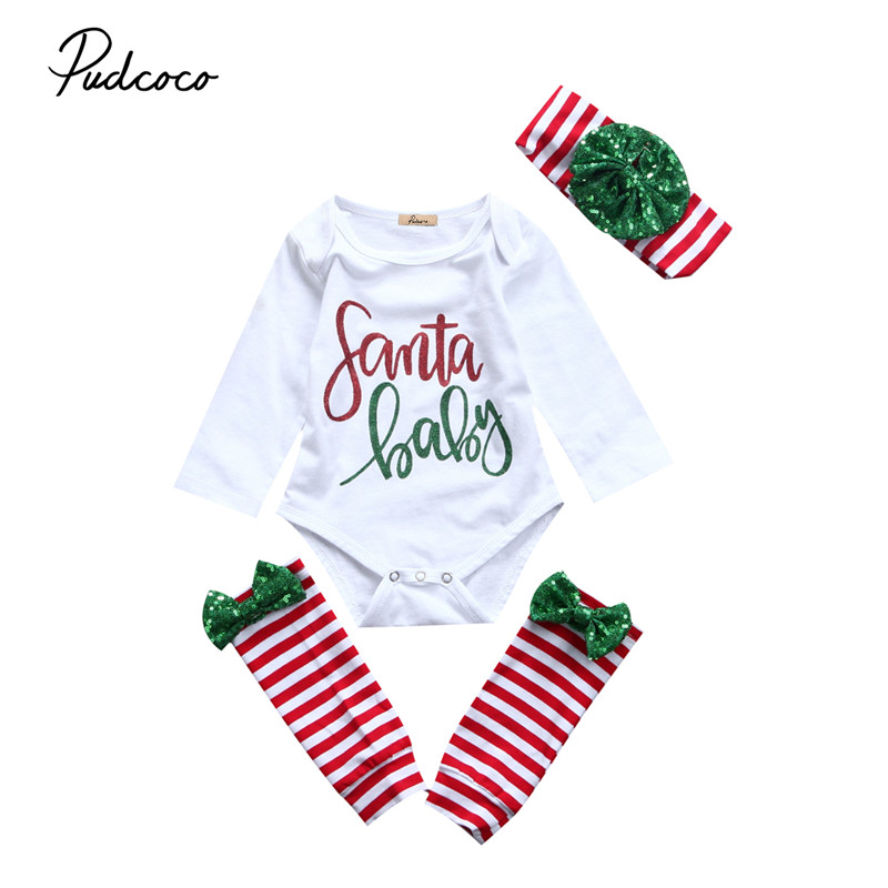 Pudcoco 2017 Xmas Newborn Infant Baby Girls Clothes Long Sleeve Tops Romper+ Leg Warmers+Headdress 3pcs Outfit Baby Clothing Set