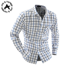 Camisa Cuadros Hombre Brand Dress Shirts Mens Plaid Shirt Slim Fit Chemise Homme Men Shirt Heren Hemden Camisa Masculina XXL