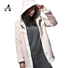 UUV Brand 2016 Long Sheepskin Suede Cloak Winter Jacket Women Coat Lapel Thick Warm Women's Coats Overcoat Jaqueta JS130301328