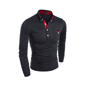 Image 2 - Heren Polo Shirt Merk Nieuwe 2019 Mannelijke Lange Mouwen Fashion Casual Slim Polka Dot Pocket Knop Polos Mannen Jerseys