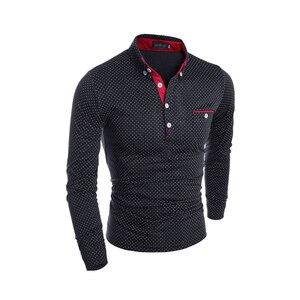 Image 2 - Mens เสื้อโปโลยี่ห้อใหม่ 2019 ชายแฟชั่น Casual Slim Polka Dot กระเป๋าปุ่มเสื้อโปโลผู้ชายเสื้อ