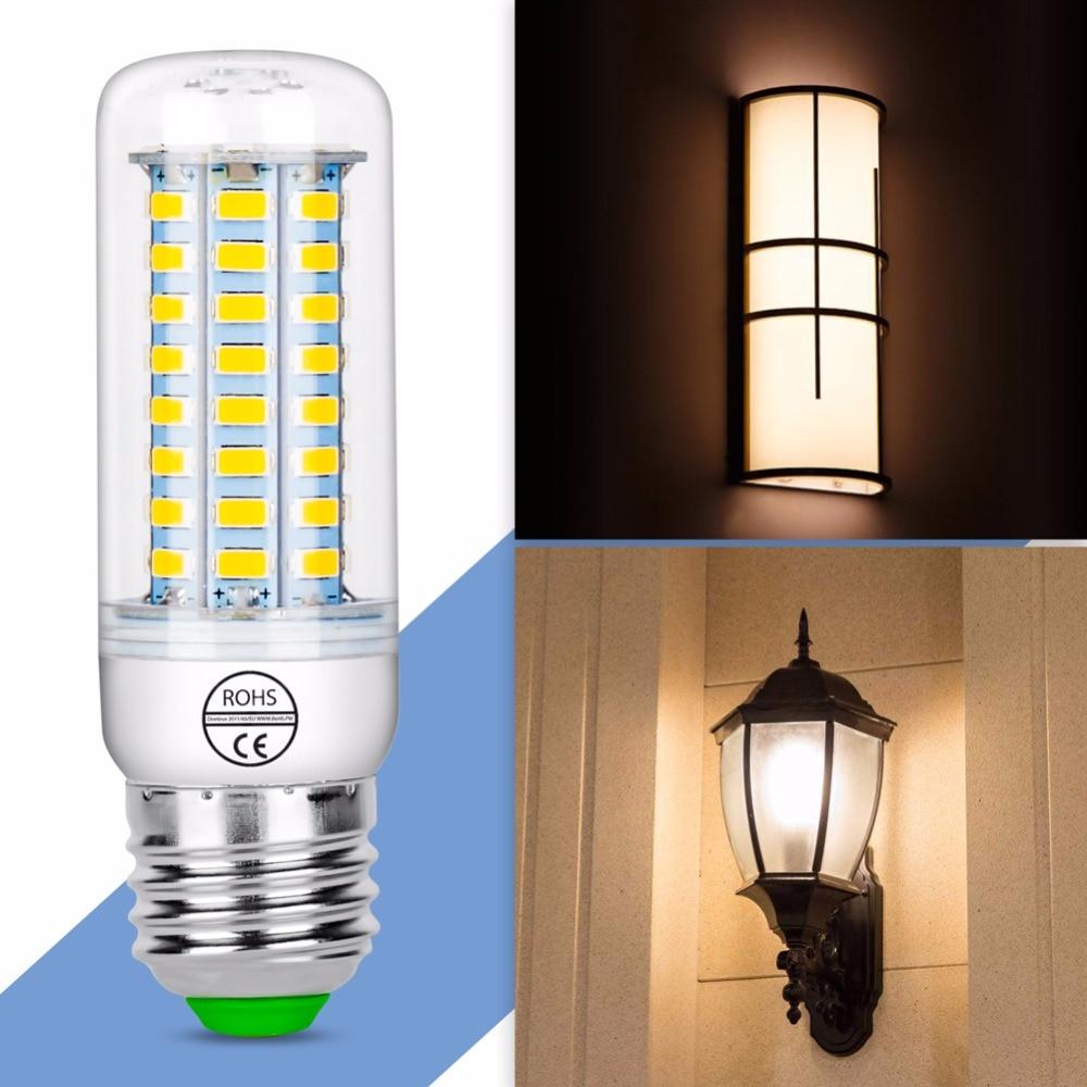 Лампы Кукурузы E27 светодиодный 220 В Лампы для мотоциклов E14 Профессиональные энергосбережения огни SMD5730 Bombillas люменов Гостиная лампада 360 гра...