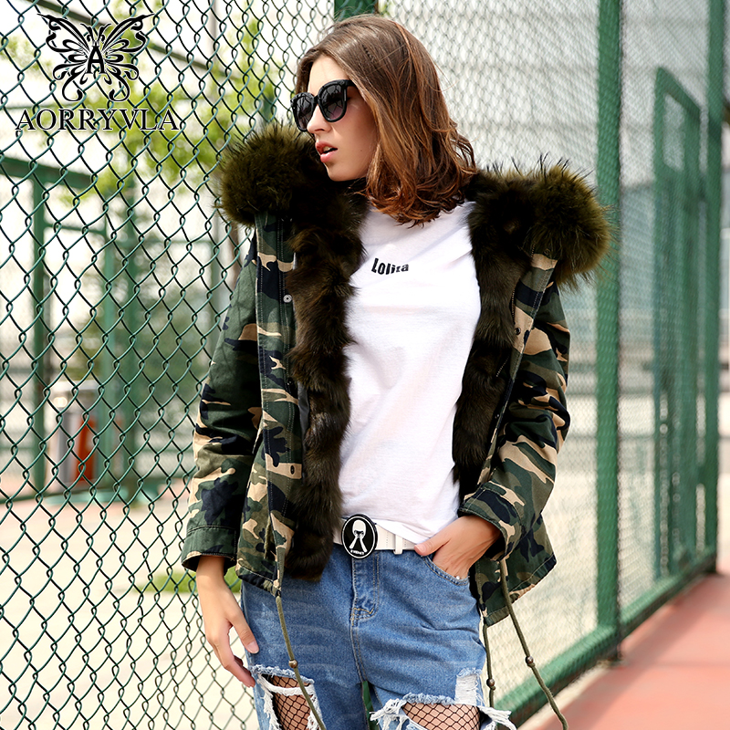 AORRYVLA 2017 Winter Women Camouflage   Parka   Fur Short Real Raccoon Fur Hooded Jacket Luxury Fox Fur Lined Warm Winter Jacket