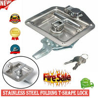 Folding T Shape Handle Lock with 2 Keys Set for Truck Trailer Camp Tool Box