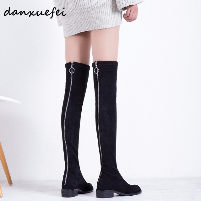 182572387e5 Women s Genuine Suede Leather Stretch Back Zip Over The Knee Boots Brand  Designer Flats Long Black