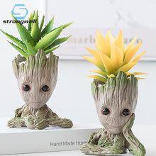 Strongwell Groot Flowerpot Tree Man Flower Pot Planter Action Figures Toy Cute Model Pen Christmas Gift Home Table Decor
