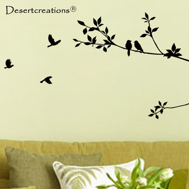 Fashion Heaven New Tree Branch Black Bird Art Wall Stickers ...