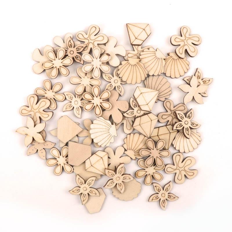 Handmade Wooden Crafts Accessory Home Decoration Scrapbooks Children Painting DIY Mix Shell Flower Wood Ornaments 20-25mm 20pcs