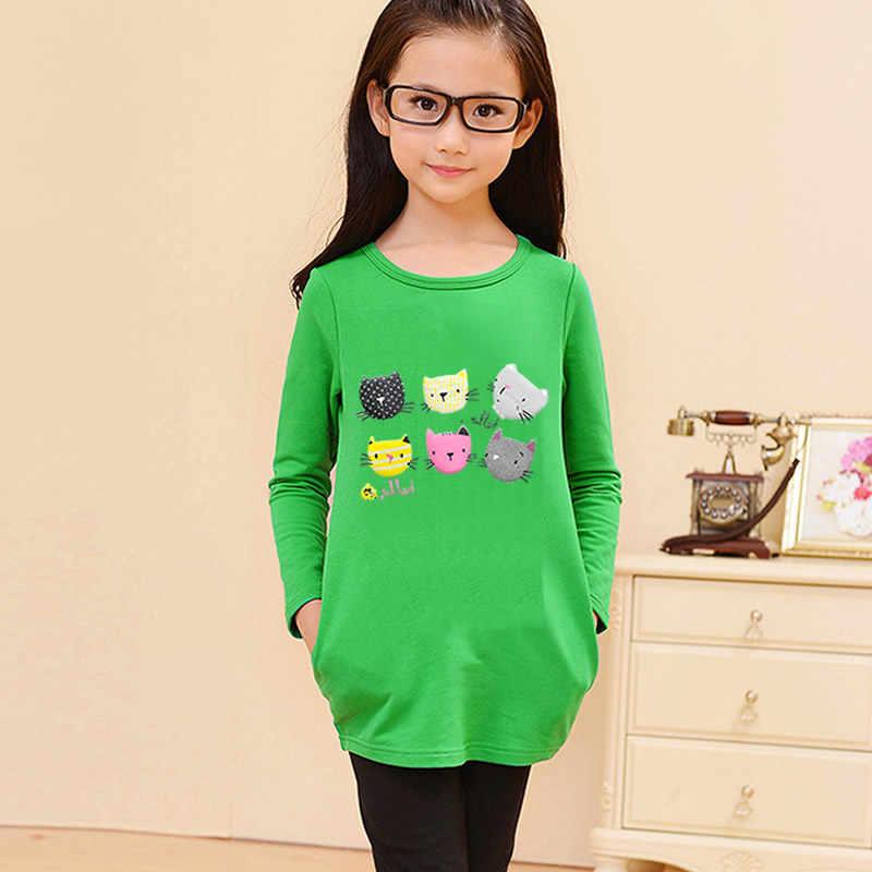 ليتل بنات تي شيرت الطفل الملابس الربيع الخريف قاعدة قميص دعم قميص القطن الأطفال ملابس طويلة الأكمام القط نمط