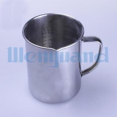 500ml Chemistry Laboratory Stainless Steel Measuring Beaker Cup With Pour Spout