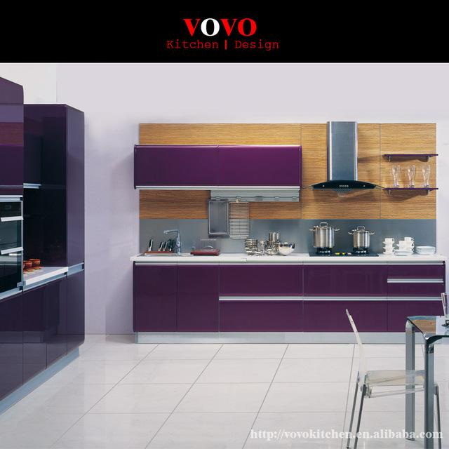 Modern Kitchen Cabinets In Purple Color NO Need Handle